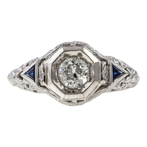 Art Deco Filigree Diamond Ring, Old Euro 0.45ct. sold by Doyle & Doyle vintage and antique jewelry boutique.