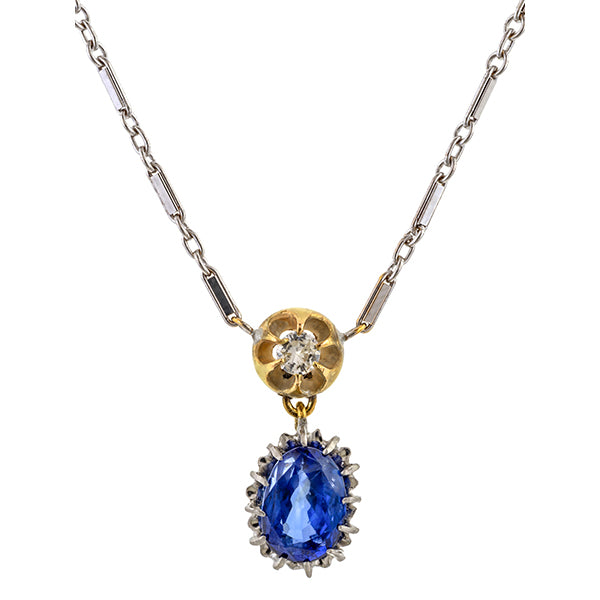 Vintage Sapphire & Diamond Pendant Necklace sold by Doyle & Doyle an antique & vintage jewelry boutique.