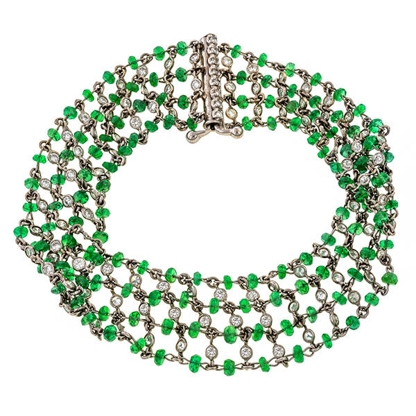 Estate Emerald Bead & Diamond Bracelet sold by Doyle and Doyle an antique and vintage jewelry boutique.