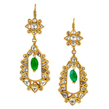 Estate Diamond & Emerald Bead Drop Earrings sold by Doyle and Doyle an antique and vintage jewelry boutique