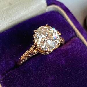 Vintage Diamond Engagement Ring European Cut 2.15ct yellow gold from Doyle & Doyle