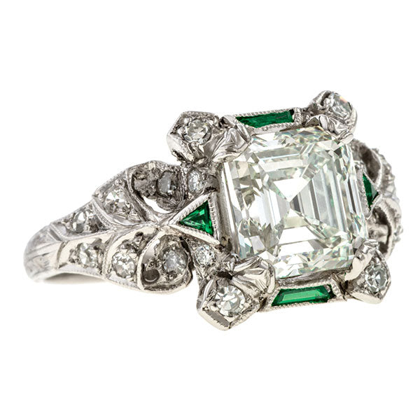 Vintage Engagement Ring, Asscher 2.01ct. sold by Doyle and Doyle an antique and vintage jewelry boutique.