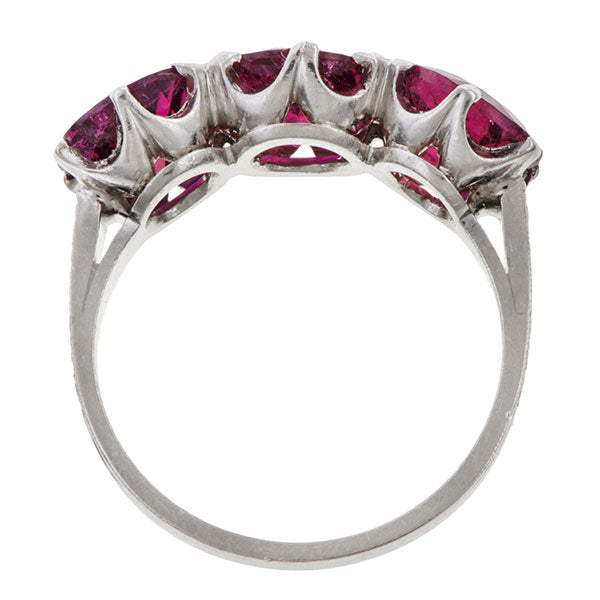 Vintage Pink Tourmaline Three Stone Ring sold by Doyle and Doyle an antique and vintage jewelry boutique.