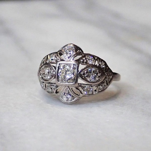 Art Deco platinum diamond cluster ring from Doyle & Doyle 110445R