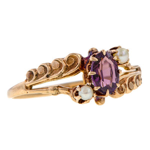 Victorian Amethyst & Pearl Ring sold by Doyle & Doyle an antique and vintage jewelry boutique.