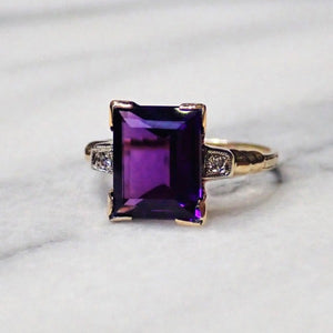 Vintage rectangular amethyst and diamond gold ring from Doyle & Doyle in New York 110451R