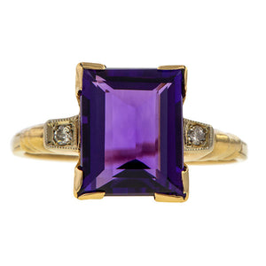 Vintage Amethyst & Diamond Ring sold by Doyle & Doyle an antique and vintage jewelry boutique.