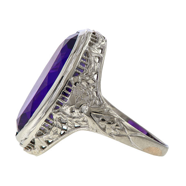 Vintage Filigree Amethyst Ring sold by Doyle & Doyle an antique and vintage jewelry boutique.