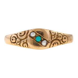 Victorian Turquoise & Pearl Ring sold by Doyle & Doyle an antique & vintage jewelry boutique.