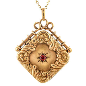 Antique Garnet Locket Necklace sold by Doyle and Doyle an antique and vintage jewelry boutique.