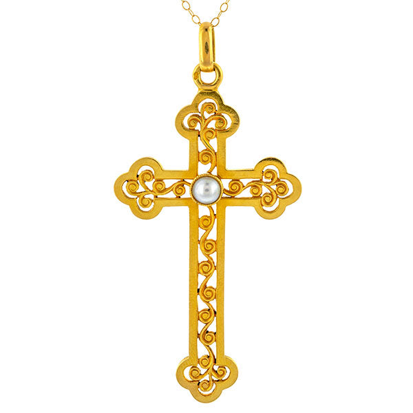 Antique French Pearl Cross Pendant Necklace sold by Doyle and Doyle an antique and vintage jewelry boutique.
