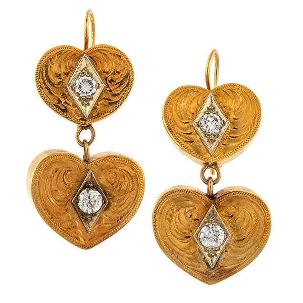 Antique Diamond Heart Earrings sold by Doyle and Doyle an antique and vintage jewelry boutique.