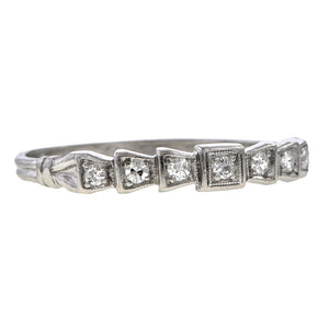 "Vintage Diamond Platinum Band, ""2-22-33"" sold by Doyle and Doyle an antique and vintage jewelry boutique"