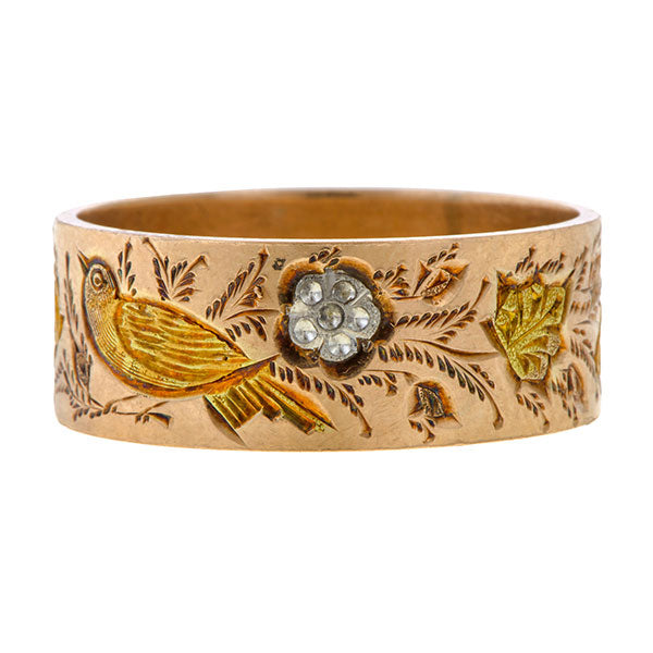Vintage Wide Floral Band sold by Doyle and Doyle an antique and vintage jewelry boutique