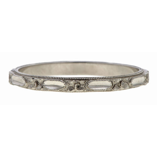 Vintage White Gold Band sold by Doyle and Doyle an antique and vintage jewelry boutique