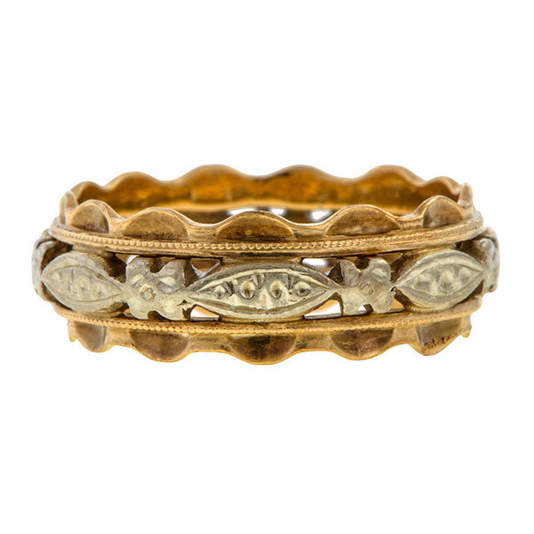 Vintage Patterned Gold Wedding Band Ring  sold by Doyle and Doyle an antique and vintage jewelry boutique