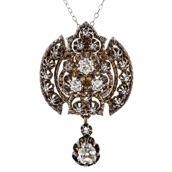 Georgian Diamond Pendant sold by Doyle and Doyle an antique and vintage jewelry boutique.