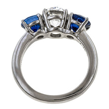 Vintage Cushion Cut Diamond & Sapphire Ring, 1.76ct sold by Doyle and Doyle an antique and vintage jewelry boutique