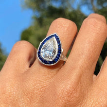 Art Deco Pear Shaped Diamond & Sapphire Ring from Doyle & Doyle 110519R