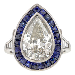Art Deco Pear Shaped Diamond & Sapphire Ring sold by Doyle & Doyle an antique & vintage jewelry boutique.