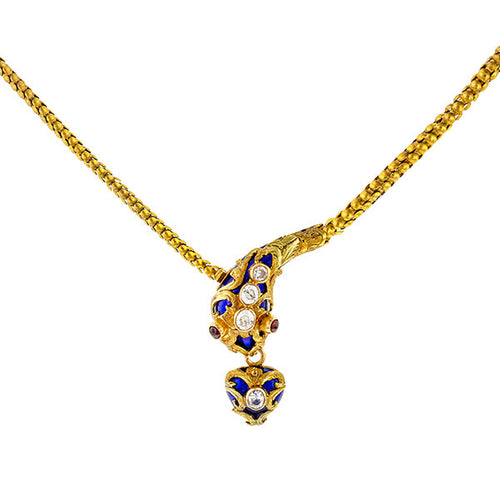 Victorian Snake Necklace sold by Doyle and Doyle an antique and vintage jewelry boutique.