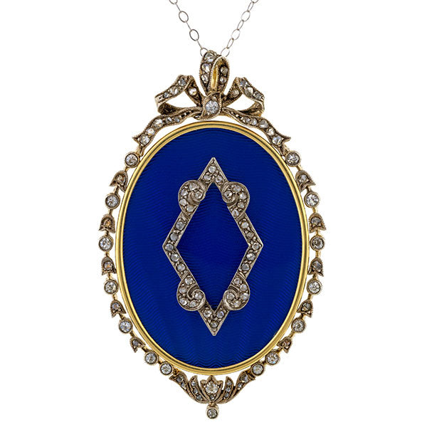 Edwardian Enamel & Rose Cut Diamond Locket sold by Doyle and Doyle an antique and vintage jewelry boutique.