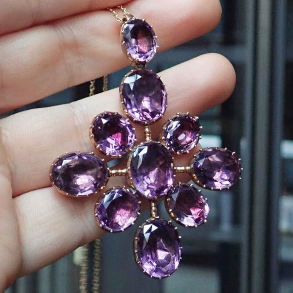 Victorian Amethyst Pendant Necklace sold by Doyle and Doyle an antique and vintage jewelry boutique.