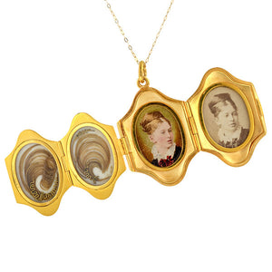 Victorian Multipage Locket Pendant sold by Doyle and Doyle an antique and vintage jewelry boutique.