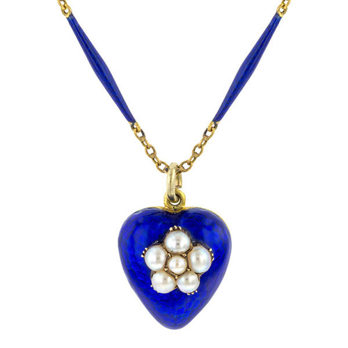 Victorian Blue Enamel &  Pearl Heart Locket Necklace  sold by Doyle and Doyle an antique and vintage jewelry boutique