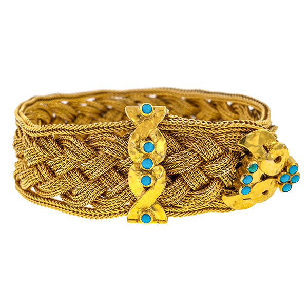 Victorian Turquoise Braided Bracelet sold by Doyle and Doyle an antique and vintage jewelry boutique.