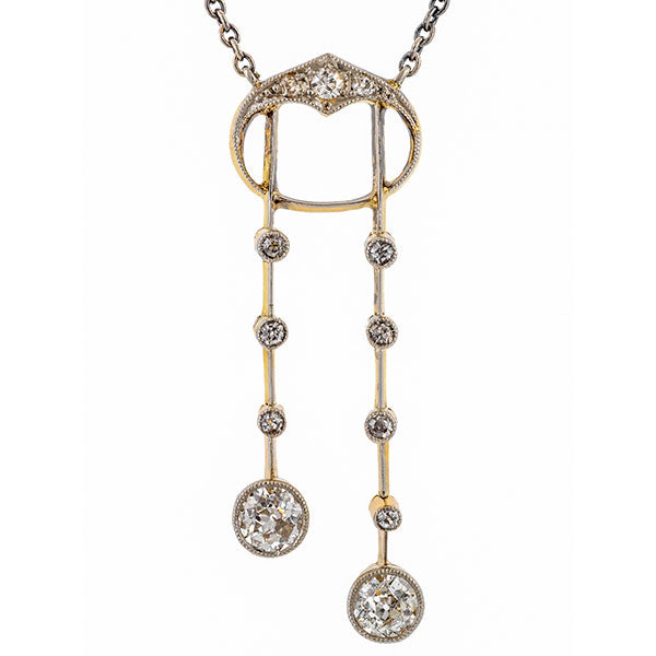 Art Deco Diamond Lavalier Necklace sold by Doyle and Doyle an antique and vintage jewelry boutique.