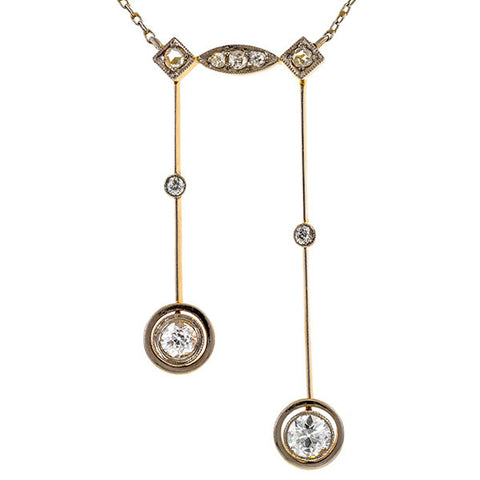 Art Deco Diamond Lavalier Necklace sold  by Doyle and Doyle and antique and vintage jewelry boutique.