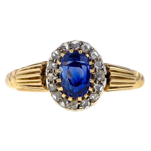 Victorian Sapphire & Diamond Cluster Ring sold by Doyle & Doyle an antique and vintage jewelry boutique.