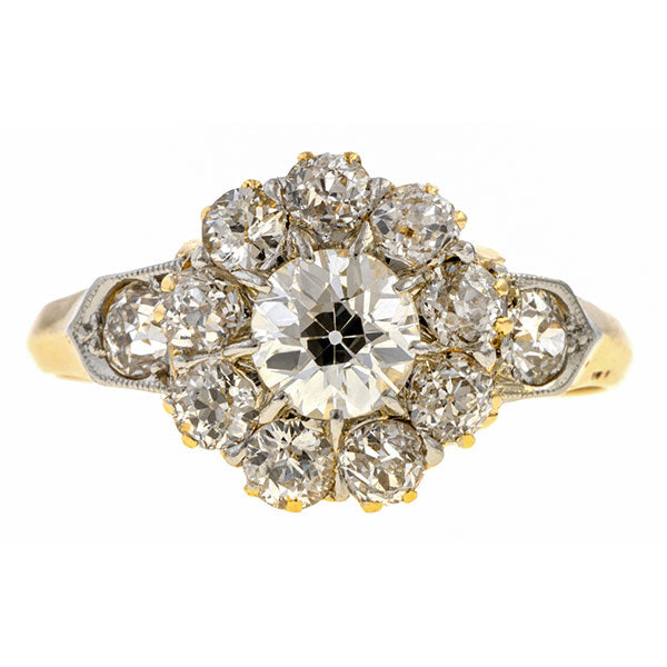 Victorian Diamond Cluster Ring. Old Euro. 0.55ct. sold by Doyle & Doyle an antique & vintage jewelry boutique.