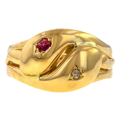 Vintage Ruby & Diamond Snake Ring sold by Doyle & Doyle an antique and vintage jewelry boutique.