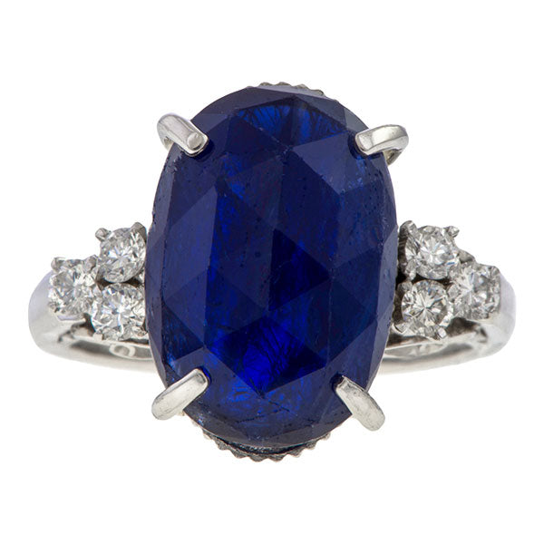 Estate Sapphire & Diamond Ring sold by Doyle and Doyle an antique and vintage jewelry boutique.