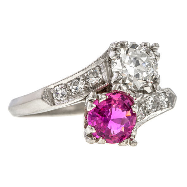 Vintage Twin Stone Ring, Pink Sapphire & Transition Round Brilliant Cut Diamond