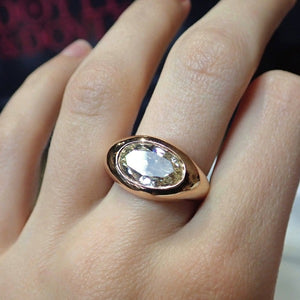 Vintage Oval Diamond Signet Ring sold by Doyle and Doyle an antique and vintage jewelry boutique