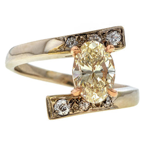 Vintage Oval Diamond Bypass Ring, 1.43ct. sold by Doyle and Doyle an antique and vintage jewelry boutique