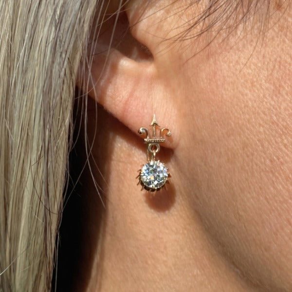Antique Diamond Drop Earrings, 2.05ctw set in yellow gold. From Doyle & Doyle in New York.