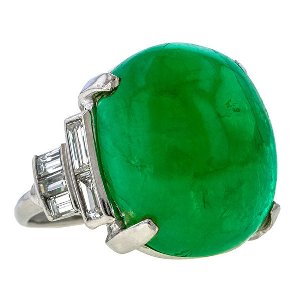 Art Deco Emerald & Diamond Ring sold by Doyle and Doyle an antique and vintage jewelry boutique