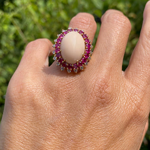 Vintage Coral, Ruby & Diamond Ring sold by Doyle and Doyle an antique and vintage jewelry boutique
