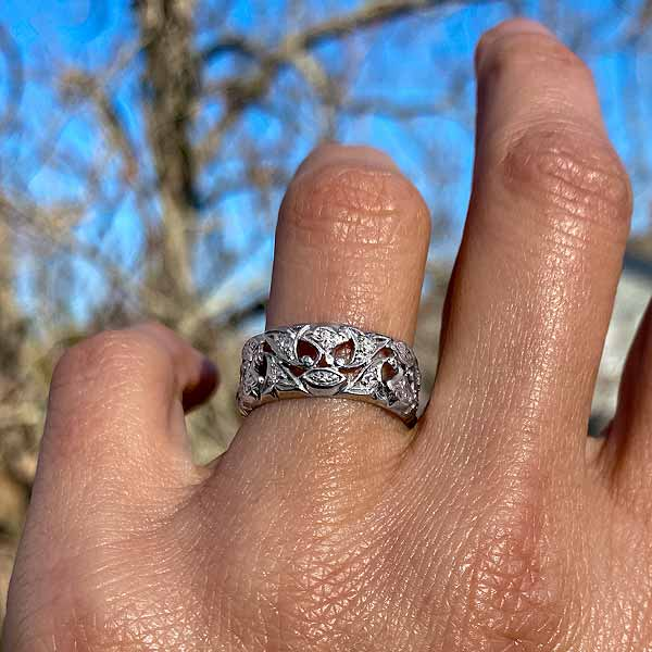 Vintage Patterned Diamond Wedding sold by Doyle and Doyle an antique and vintage jewelry boutique
