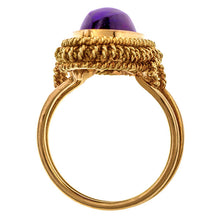 Estate Marquise Cabochon Amethyst Ring sold by Doyle and Doyle an antique and vintage jewelry boutique