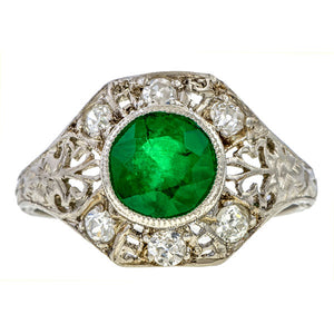 Art Deco Emerald Ring, 1.01ct. sold by Doyle & Doyle an antique and vintage jewelry store.