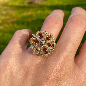 Vintage Seed Pearl & Diamond Ring sold by Doyle and Doyle an antique and vintage jewelry boutique