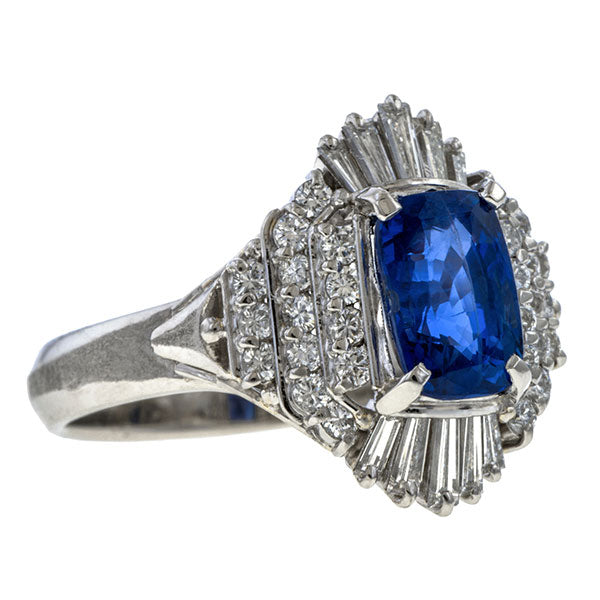 Estate Sapphire & Diamond Ring, 2.05ct sold by Doyle and Doyle an antique and vintage jewelry boutique