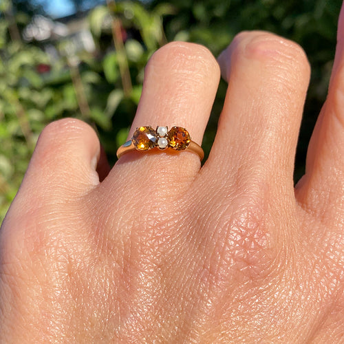 Antique Citrine & Pearl Ring sold by Doyle and Doyle an antique and vintage jewelry boutique