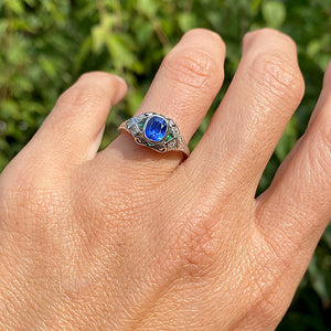Art Deco Sapphire, Emerald & Diamond Ring, 1.00ct sold by Doyle and Doyle an antique and vintage jewelry boutique