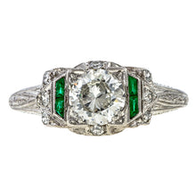Art Deco Diamond & Emerald Ring sold by Doyle and Doyle an antique and vintage jewelry boutique